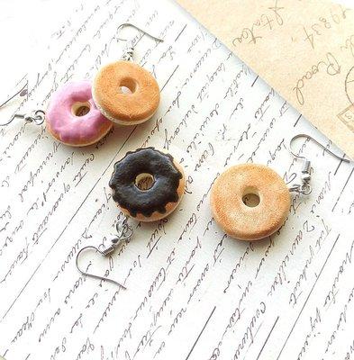 手創飾品/草莓+巧克力甜甜圈耳環組/Mister Donut新年跨年聖誕節禮物生日禮物派對