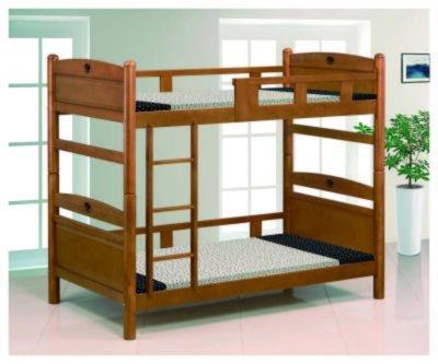 【風禾家具】FEF-611-2@柚木色3.5尺雙層床【台中13000送到家】兒童床 上下舖 單人床 實木傢俱 安全護欄