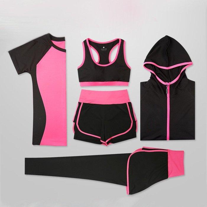 [聚衣堂]2003女生運動褲韻律服壓力褲瑜珈服健身瑜伽服女套裝春款速干上衣運動跑步健身服弧形修身五件套13