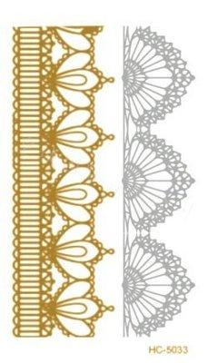 ((瑪奇亞朵的珠寶世界)歐美流行燙金刺青紋身貼紙 金色 銀色 /身體彩繪/金屬感/