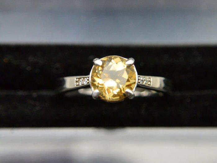 #超值 500圓專區 # 天然黃水晶圓明亮型切割 簡約 設計款戒指 戒子 #12