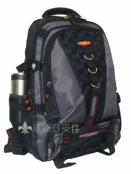 《 補貨中缺貨葳爾登》十字軍護脊功能後背包大尺寸電腦包運動背包公事包護腰帶登山包手提包2264黑配灰色
