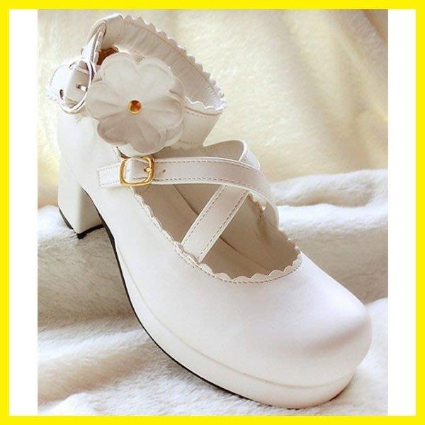加軟日系白色甜美女仆lolita洛麗塔鬆糕粗跟高跟花朵單女皮鞋