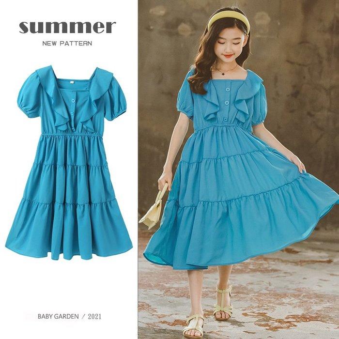 【TF5605】✿寶貝花園✿ 2021夏季新品 女童 中大童 雪紡荷葉邊 公主裙 連衣裙 洋裝