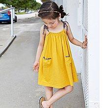 中大童 優質 女童【Q寶童裝】夏款 DM-103 碎花蝴蝶結 吊帶裙 連身裙 洋裝