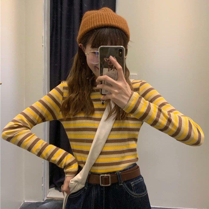 長袖t恤女秋季2019新款復古撞色條紋學生修身顯瘦短款打底上衣潮  衣品居 YPJ