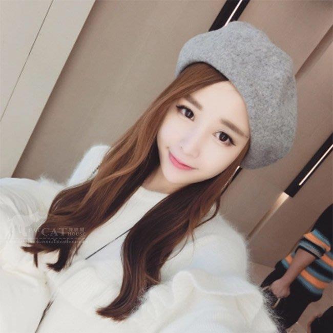 【FAT CAT HOUSE胖貓屋】韓國熱銷氣質羊毛呢貝雷帽 毛呢帽 復古畫家帽 優雅氣質南瓜帽 毛帽《品質保證》