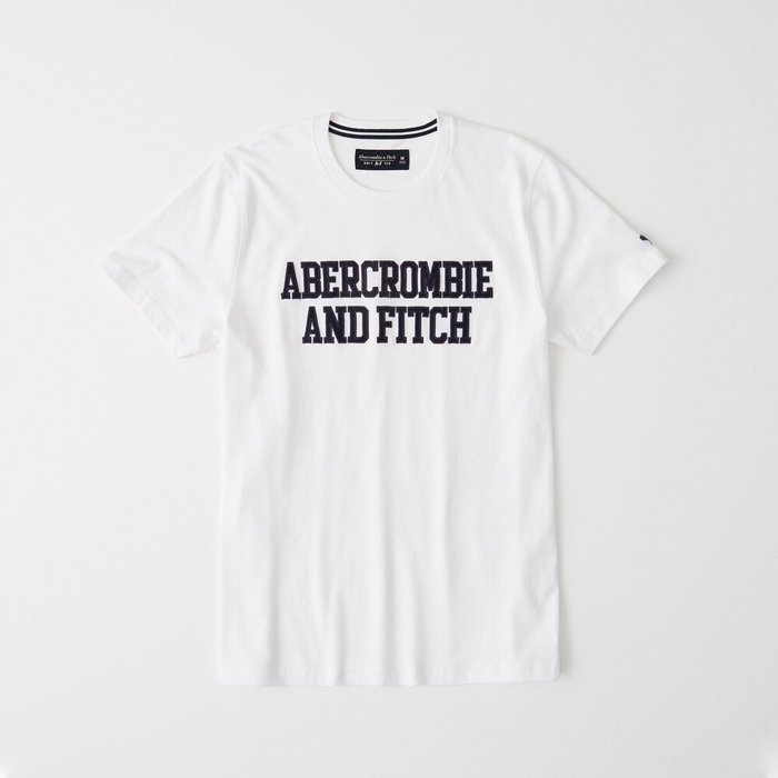 T☆【A&F男生館】☆【Abercrombie&Fitch LOGO貼布短袖T恤】☆【AF007M6】(XS-S-M-L-XL)原價999 7/15