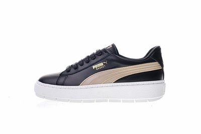 "Puma  Platform Trace Varsity""皮革黑鐵金""松糕厚底 百搭 休閒滑板鞋 367728-01 女鞋"