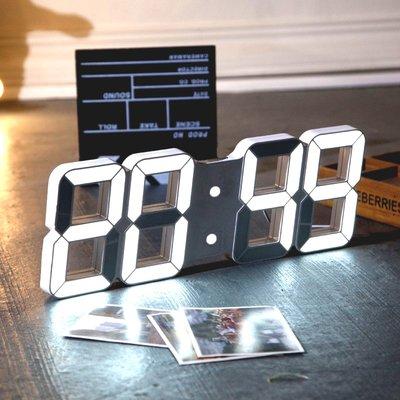 升級聲控 3D LED 立體數位顯示時鐘 3D時鐘 LED時鐘 數字時鐘 萬年曆 溫度 鬧鐘【B1001】