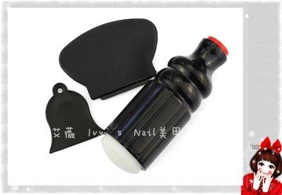 艾薇 Ivy's Nail美甲批發╭*美甲鋼板轉印章  黑色雙頭大款3件套刮刀和印章