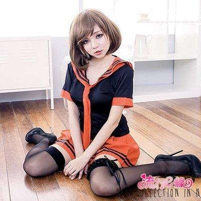水手服 紅黑角色扮演服學生裝 性感百折裙式COSPLAY服裝學生制服~流行E線A7037