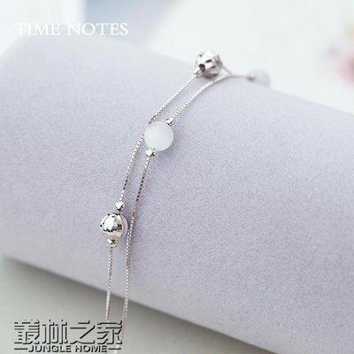 銀手鍊女貓眼石圓珠手環銀飾品 尚美優品
