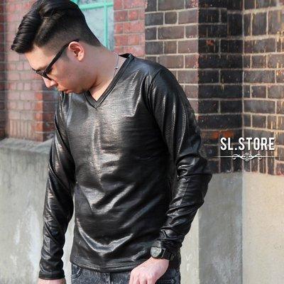 SL Store【D1219】潮流嚴選蛇紋皮長袖V領T.黑/M/L