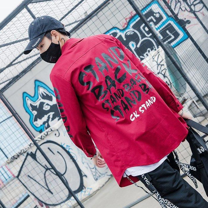 TST- 草寫 文字 寬鬆 大尺寸 搖滾風 嘻哈風 休閒襯衫 長袖襯衫 工作襯衫 襯衫 蝙蝠袖 男女款 情侶款