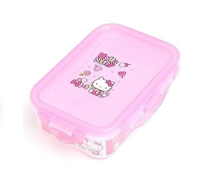 GIFT41 4165本通 三重店 KT 凱蒂貓 長方 樂扣 便當盒 保鮮盒 350 ml 粉 愛心棒棒糖 8803733046084