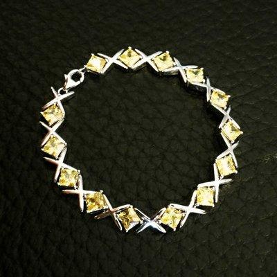 男女手鏈特製流行黃鑽方鑽一公分寬0.8...