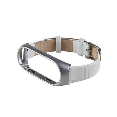?小米手環3/4?鱷魚紋真皮錶帶 MI3 (時尚白)米蘭尼斯磁吸不鏽鋼金屬腕帶
