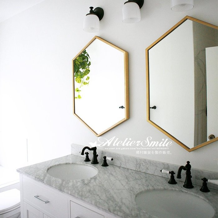 [ Atelier Smile ]  鄉村雜貨 北歐風 簡約 金邊壁掛鏡 多邊形 浴室鏡 # 新品免運 # 60X90