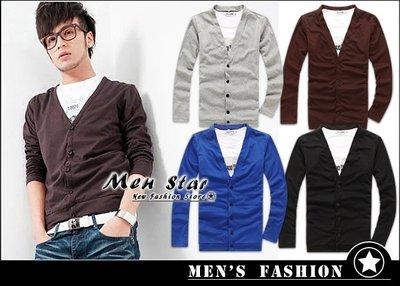 【Men Star】免運費 韓版素面修身針織衫 藍色 針織外套 棕色 男 女 媲美 superdry porter ck