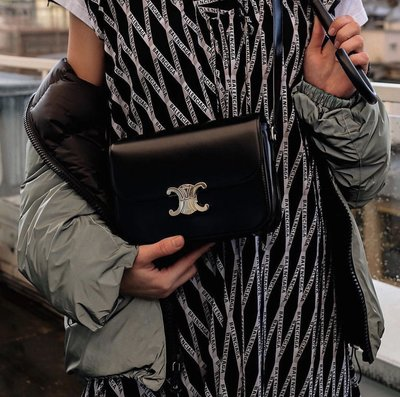 Celine Triomphe Classic BOX Bag 中型牛皮水波紋肩背包 黑