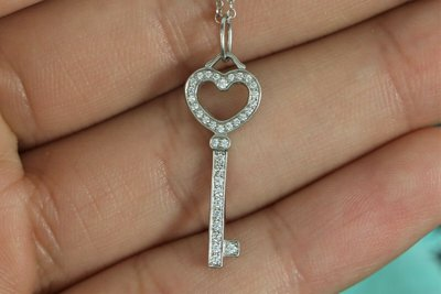 Tiffany PT950 Heart Key 白金愛心鑰匙鑽石項鍊