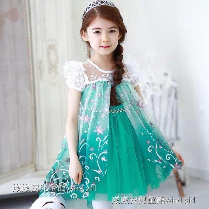 冰雪奇緣 夏季洋裝 最新款 韓版 冰雪奇緣2女童短袖Frozen兒童公主裙紗裙 冰雪奇緣2  現貨---崴崴安兒童館
