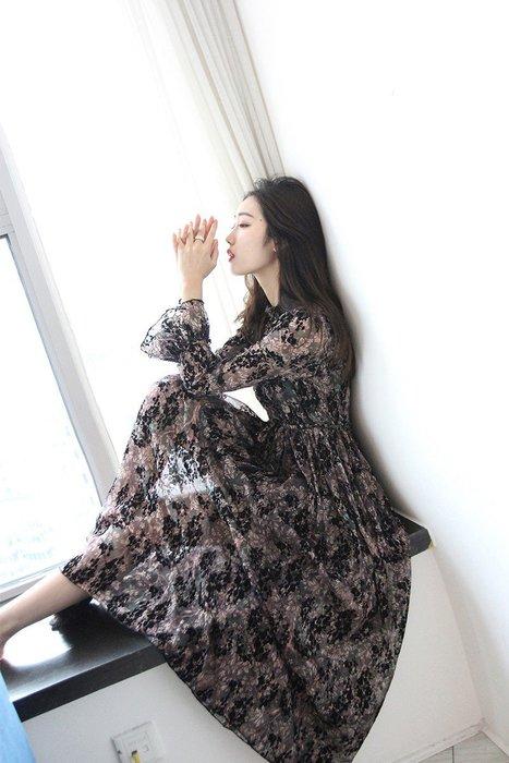 ~Linda~18春新款走秀款名媛復古燒花顯瘦顯高打底裙提花絲絨連衣裙