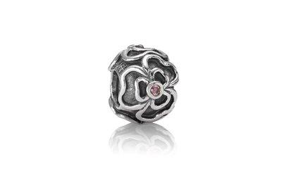 Pandora 925銀 絕版粉色鋯石復古蕾絲花串飾