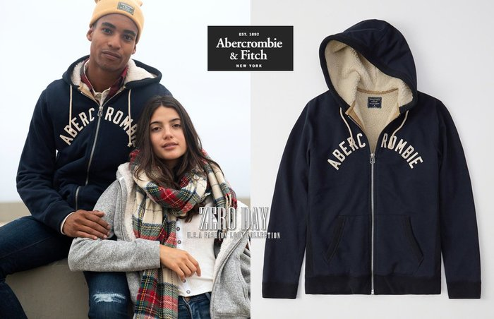 A&F正品Abercrombie&Fitch Full-Zip Sherpa-Lined Logo Hoodie連帽外套