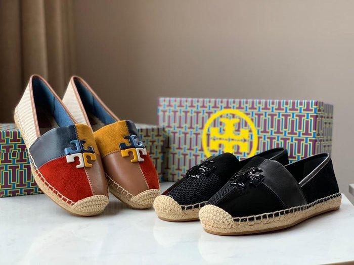 Tory burch/TB托里伯奇新款帆布麻繩編織漁夫鞋一腳蹬套腳鞋懶人鞋透氣舒適多色