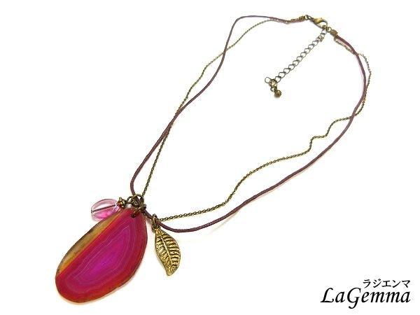 ♥寶峻飾品♥特價$160~嬌豔桃紅瑪瑙片墜項鍊 SPS-427 綺麗漸層,晶豔漾麗