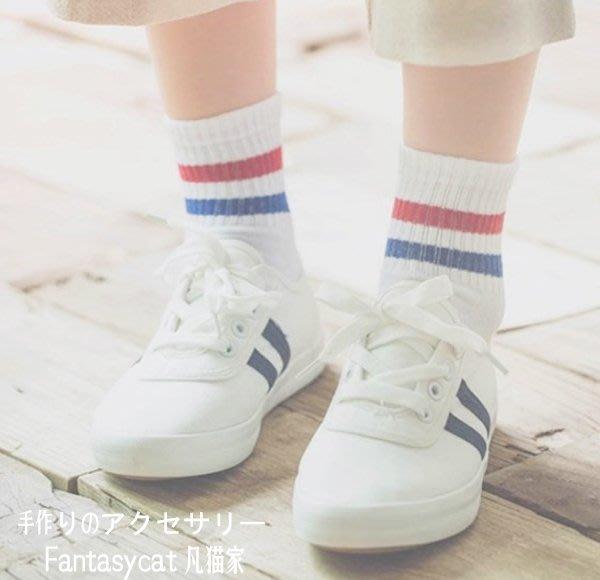 襪子 韓國Ulzzang原宿滑板襪子條紋杠襪學院復古襪運動襪子 28