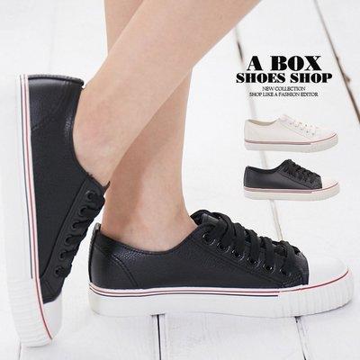 格子舖*【AAB055】低筒帆布鞋 小白鞋 基本款百搭休閒 PU皮革材質 綁帶繫帶 2色