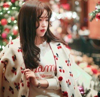 韓國甜美聖誕刺繡櫻桃紅色扣針織開衫毛衣女外套(羊毛櫻桃針織)