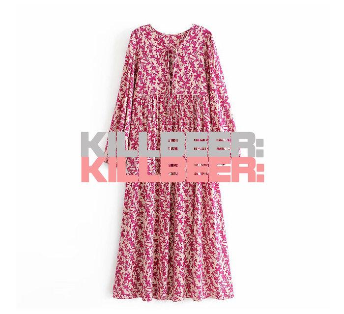 KillBeer:波希米亞嬉皮風之 歐美復古夏日度假風浪漫艷桃裸粉印花綁帶泡泡袖棉麻連身裙長洋裝A080217