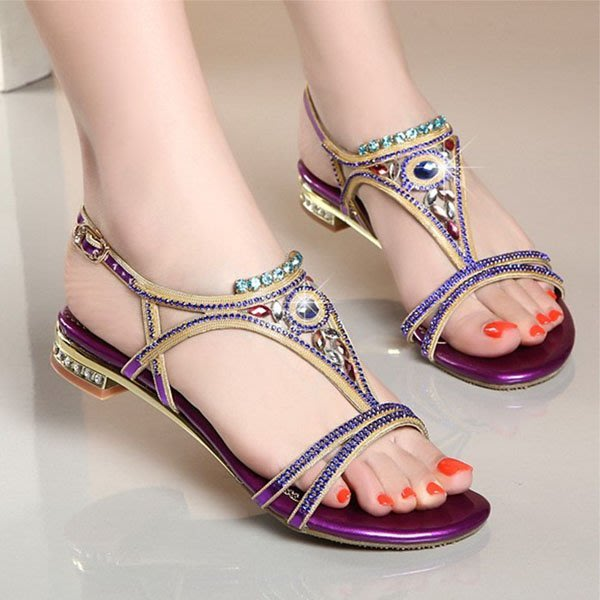 5Cgo【鴿樓】會員有優惠 17992629242 涼鞋女夏季新款真皮低跟平底水晶水鑽時尚舒適女鞋拖鞋