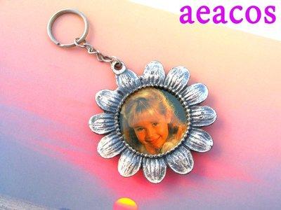 AEACOS@古董 古著 vintage 可裝照片相片 朝氣向日葵 大花朵 厚實 有重量 存在感 銀色 鑰匙圈