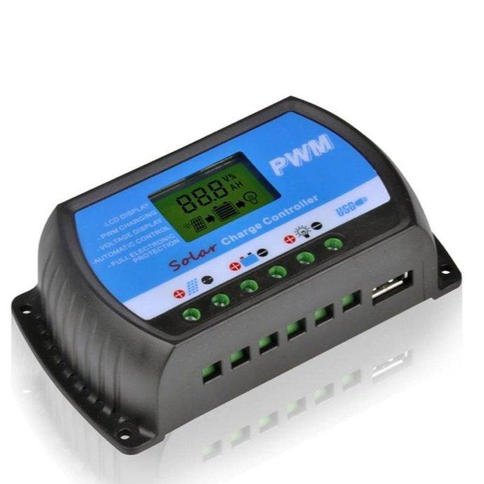 €太陽能百貨€ 太陽能控制器 10A USB 液晶顯示 發電系統控制器 PT-10A