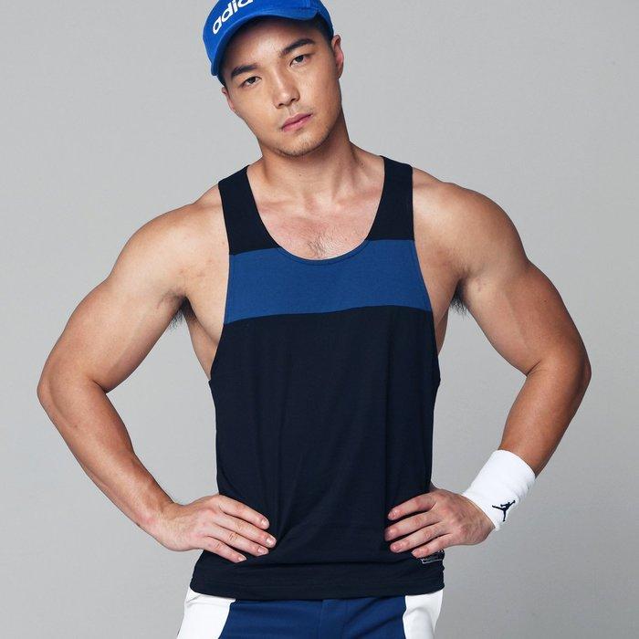 【OTOKO Men's Boutique】固制:挖背拼色夏季背心/黑色(台灣獨家代理)