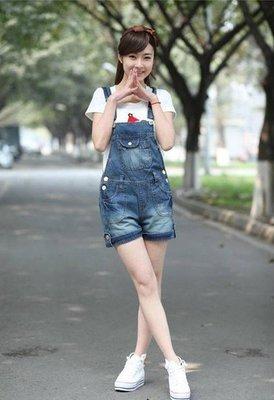 學院風牛仔褲可愛潮背帶短褲連體褲牛仔短褲 J-12764