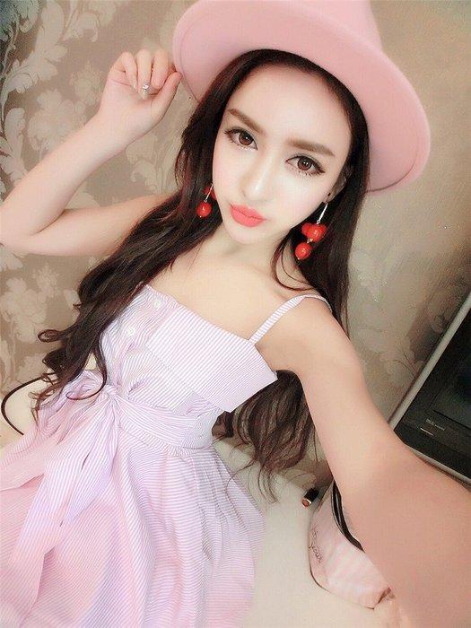 ☆Candy Box☆2017初級新款性感一字領收腰修身顯瘦不規則吊帶連衣裙 粉 Z2922309