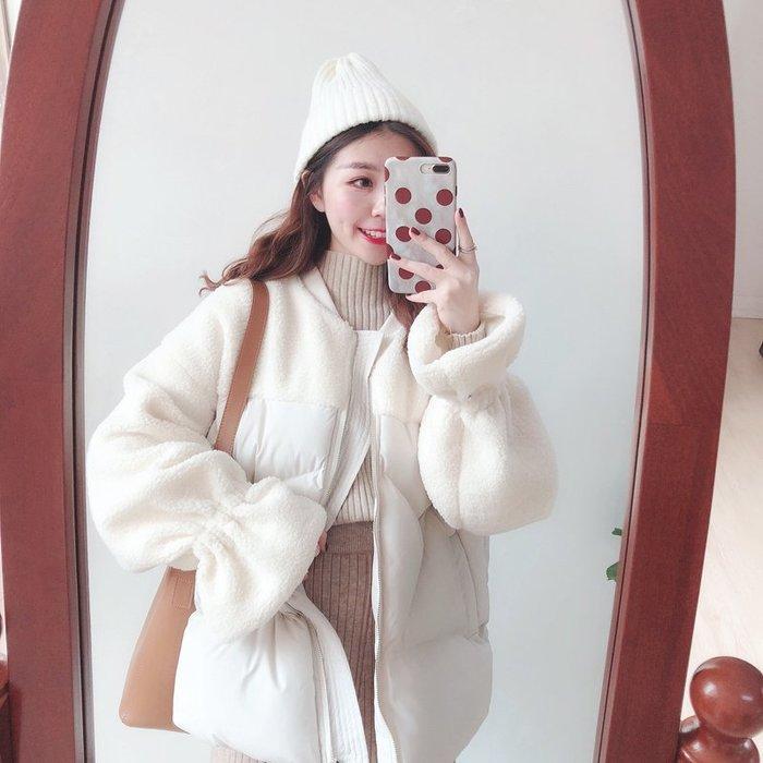 ~Linda~冬日韓系chic風~文藝百搭保暖純色小清新羊羔毛拼接棉衣