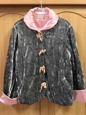。☆二手☆。Why&1/2正品中國風鋪棉外套(17號-165cm)//粉灰絨//成人可穿