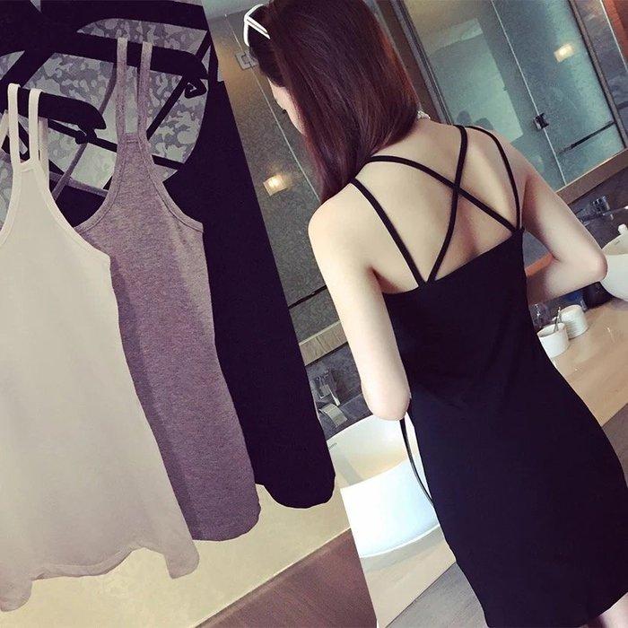 韓國風女裝 夏日 百搭莫代爾雙肩吊帶 短款 長款 背心 裙