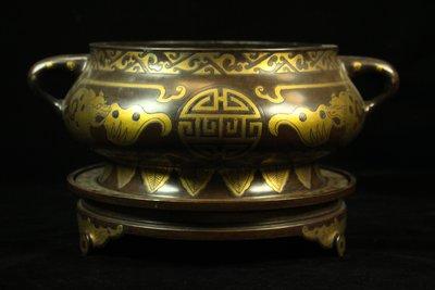 悅年堂 --- 銅 鎏金 蚰龍耳 大爐...