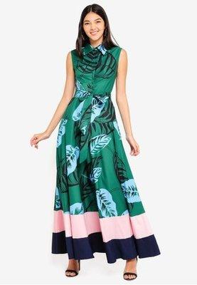 kiki style*歐洲品牌MEGANE綠色春夏印花粉藍配色飄逸大裙襬襯衫式前開襟腰綁帶長洋裝mng韓iroo高美芬