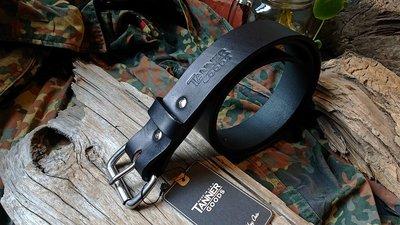 【 Tanner Goods 】生來狂野二店全新現貨不鏽鋼帶頭黑色皮帶  紮實皮革 多脂皮革 美國製