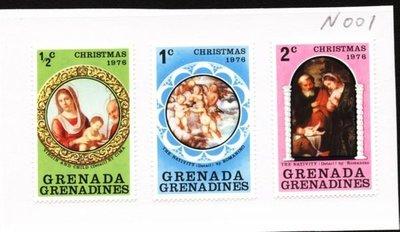 O(∩_∩)O~格瑞那達新票---1976年--耶穌名畫---3枚---外票N001