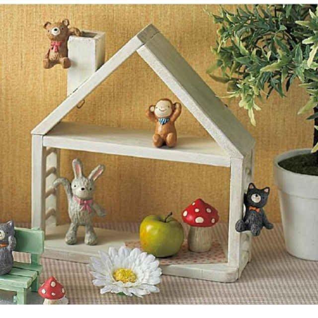*Dou Dou House*日本木製穿透小屋子 療癒花園裝飾壁掛架 園藝雜貨(單層)-現貨